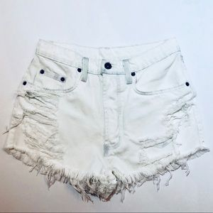 CARMAR shredded cut out white distressed shorts